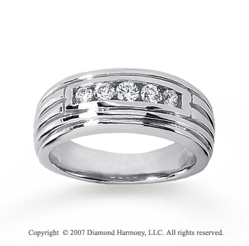 14k White Gold Classy Groove 1/3 Carat Men's Diamond Ring