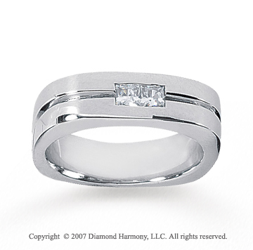 14k White Gold Modern Sleek 1/3 Carat Men's Diamond Ring
