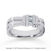 14k White Gold Trendy Channel 0.60 Carat Men's Diamond Ring