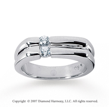 14k White Gold Trendy Slick 0.30 Carat Men's Diamond Ring