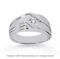 14k White Gold Modern Style Bezel 1/4 Carat Men's Diamond Ring