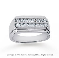 14k White Gold Two Channel Round 1/2 Carat Diamond Ring