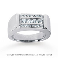 14k White Gold Three Channel 1/2 Carat Diamond Ring