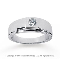 14k White Gold Slick Round 1/4 Carat Men's Diamond Ring