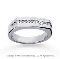 14k White Gold Round Channel 1/2 Carat Men's Diamond Ring