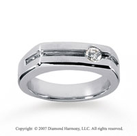 14k White Gold Round Channel 0.20 Carat Men's Diamond Ring