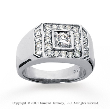 14k White Gold Grand Prong 1.07 Carat Men's Diamond Ring