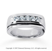 14k White Gold Sleek Channel 3/4 Carat Diamond Ring