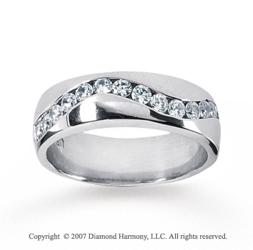 14k White Gold Wave Channel 0.90 Carat Men's Diamond Ring