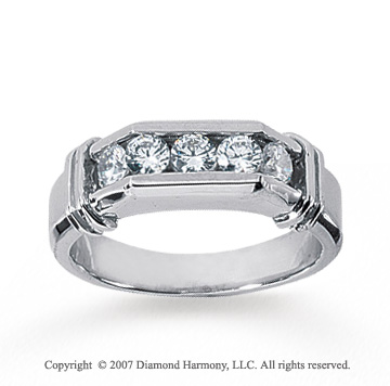 14k White Gold Channel 3/4 Carat Men's Diamond Ring
