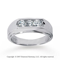 14k White Gold Sleek Channel 0.60 Carat Men's Diamond Ring