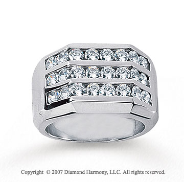 14k White Gold Grand Three Channel 1.68 Carat Diamond Ring
