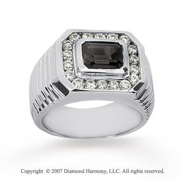 14k White Gold Grand Smoky Quartz 0.40 Carat Men's Diamond Ring