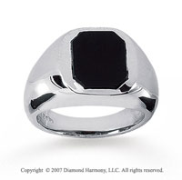 14k White Gold Sleek Stylish Onyx Men's Fashion Ring