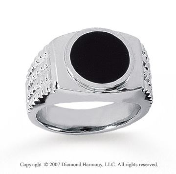 14k White Gold Carved Circle Onyx Men's Fashion Ring