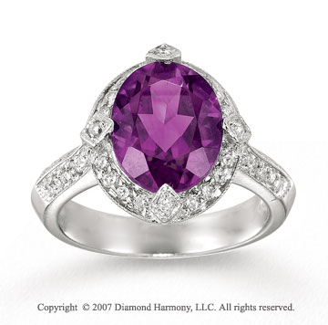 14k White Gold 1/3  Carat Diamond Amethyst Statement Ring