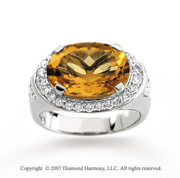 14k White Gold Oval Citrine Diamond Statement Ring