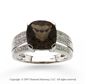 14k White Gold Smoky Quartz Diamond Statement Ring