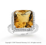 14k White Gold Princess Citrine Diamond Statement Ring