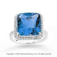 14k White Gold Swiss Blue Topaz Diamond Statement Ring