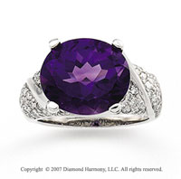 14k White Gold Oval Amethyst 3/4 Carat Diamond Ring