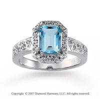 14k White Gold Prong Emerald Aquamarine Diamond Ring