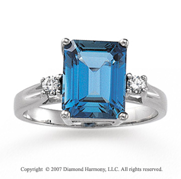 14k White Gold Emerald Blue Topaz Diamond Ring
