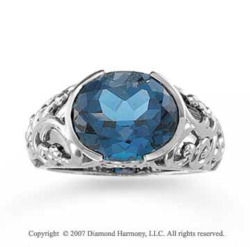 14k White Gold Oval Filigree Blue Topaz Ring