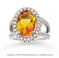 14k White Gold Prong Oval Citrine 1/2 Carat Diamond Ring