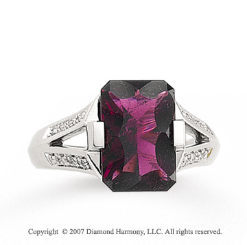 14k White Gold Prong Brazilian Rhodolite Diamond Ring