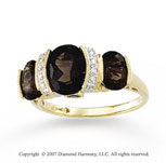 14k Yellow Gold Classy Bezel Oval Smoky Quartz Ring