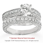 14k White Gold Side Stone 1.70 Carat Diamond Bridal Set