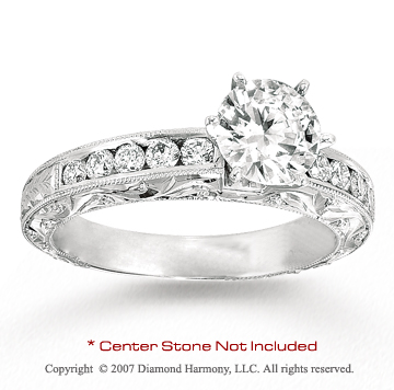 14k White Gold Side Stone 3/5 Carat Diamond Engagement Ring