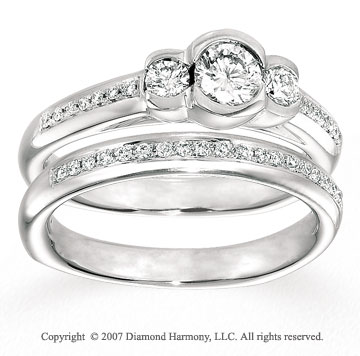 14k White Gold Prong Three Stone Diamond Bridal Set