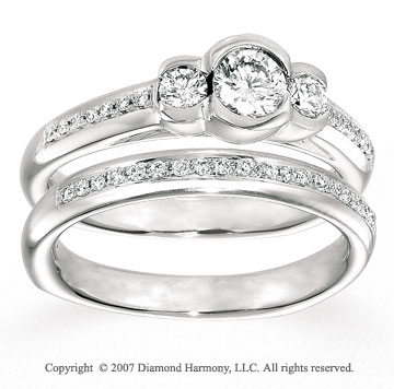 14k White Gold Three Stone 2/5 Carat Diamond Bridal Set