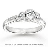 14k White Gold Fine Three Stone Diamond Engagement Ring