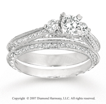 14k White Gold One Carat Three Stone Diamond Bridal Set