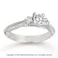 14k White Gold 1/5 Carat Three Stone Diamond Engagement Ring