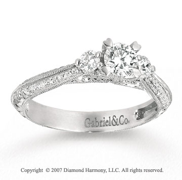 14k White Gold 1/6 Carat Three Stone Diamond Engagement Ring