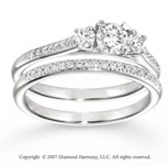 14k White Gold 2/3 Carat Three Stone Diamond Bridal Set