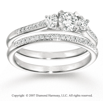 14k White Gold 1/4 Carat Three Stone Diamond Bridal Set