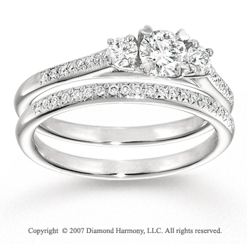 14k White Gold 1/6 Carat Three Stone Diamond Bridal Set