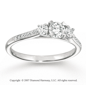 14k white gold elegant three stone diamond engagement ring - Elegant Wedding Rings