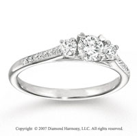 14k White Gold Elegant Three Stone Diamond Engagement Ring