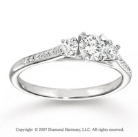 14k White Gold 0.80 Carat Three Stone Diamond Engagement Ring