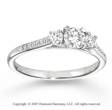 14k White Gold Prong Three Stone Diamond Engagement Ring