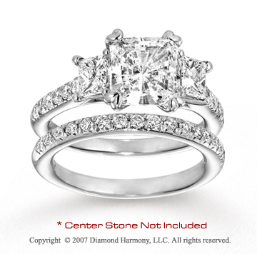14k White Gold Side Stone 0.70 Carat Diamond Bridal Set