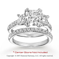 14k White Gold Side Stone 0.60 Carat Diamond Bridal Set