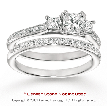 14k White Gold Side Stone 1/2 Carat Diamond Bridal Set