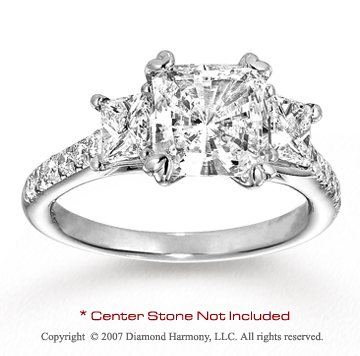 14k White Gold Side Stone 1/3 Carat Diamond Engagement Ring